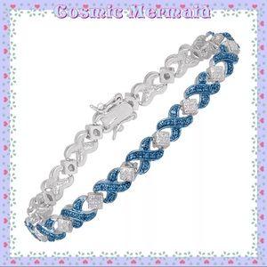 Jewelry - 🆕💙XOXO Design Tennis Bracelet✨Blue Diamonds💙